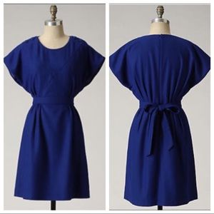 Lil 'Button Duo' Blue Wool Tie Waist Dress